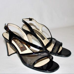 Vintage Patent Leather And Mesh Square Toe Heel